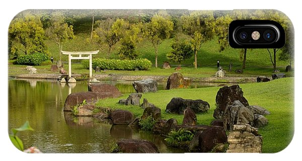 Pond Rocks Grass And Japanese Arch Singapore IPhone Case