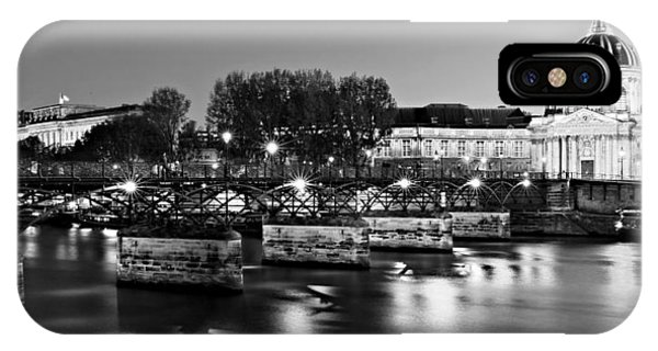 IPhone Case featuring the photograph Pont Des Arts At Night / Paris by Barry O Carroll