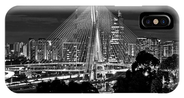 Sao Paulo - Ponte Octavio Frias De Oliveira By Night In Black And White IPhone Case