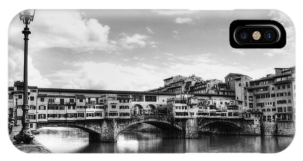 Ponte Vecchio At Florence Italy Bw IPhone Case