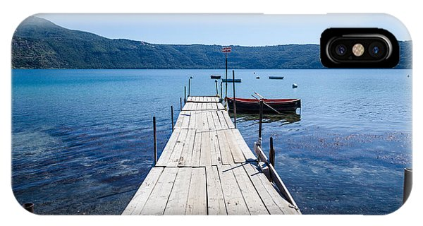 Pontoon With Rowing Boat On Lake Albano Lazio Italy IPhone Case