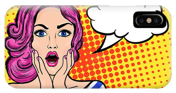 Open iPhone Case - Pop Art Surprised Woman With Open Mouth by Anastasia Stoma