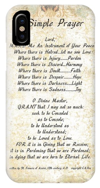 Simple iPhone Case - Pope Francis St. Francis Simple Prayer Butterflies by Desiderata Gallery