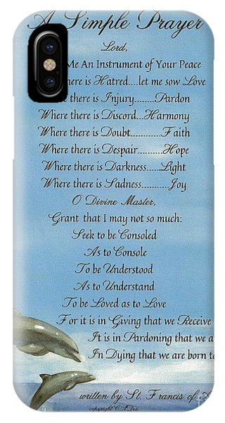 Simple iPhone Case - Pope Francis St. Francis Simple Prayer Dolphins Tking A Leap Of Faith by Desiderata Gallery