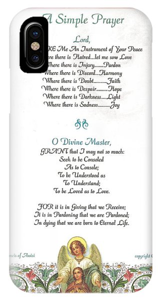 Simple iPhone Case - Pope Francis St. Francis Simple Prayer Florentine Angel by Desiderata Gallery