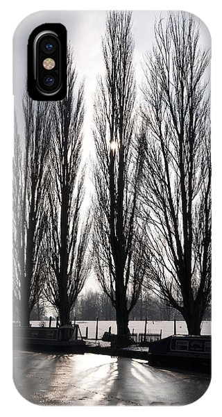 Poplars In Winter IPhone Case