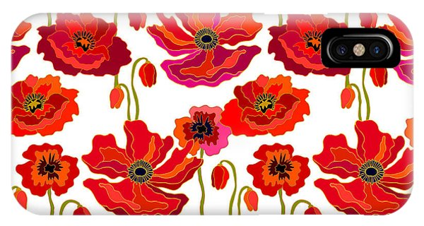 1960s iPhone Case - Poppies Field. Seamless Vector Pattern by Svetlana Kononova