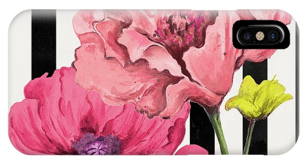 Poppies iPhone Case - Poppies On Stripes I by Patricia Pinto