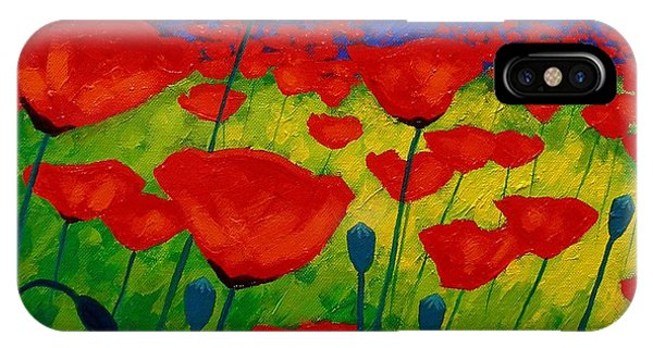 Red iPhone X Case - Poppy Corner II by John  Nolan