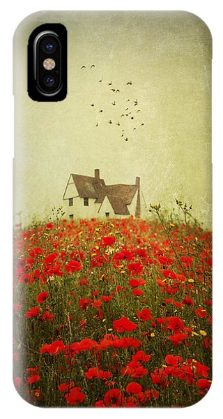 Poppy Field Wth Vintage Textures IPhone Case
