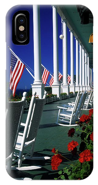 Porches iPhone Case - Porch Of The Grand Hotel, Mackinac by Panoramic Images
