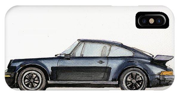 Watercolor iPhone Case - Porsche 911 930 Turbo by Juan  Bosco