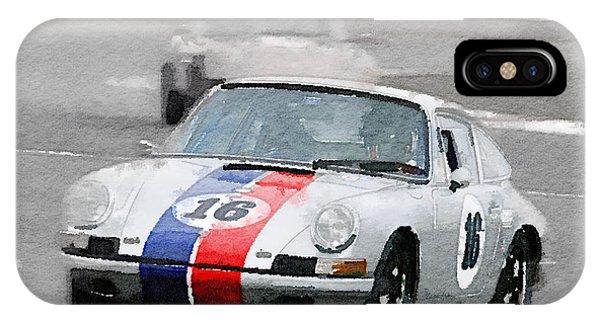Classic Cars iPhone Case - Porsche 911 Race In Monterey Watercolor by Naxart Studio