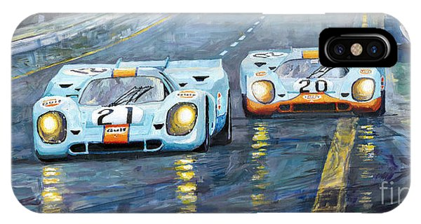 Car iPhone X Case - Porsche 917 K Gulf Spa Francorchamps 1971 by Yuriy Shevchuk