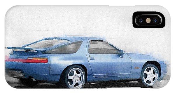 Classic Cars iPhone Case - Porsche 928 Watercolor by Naxart Studio