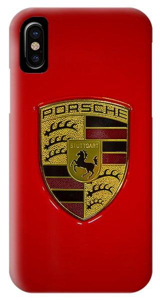 Coat iPhone Case - Porsche Emblem Red Hood by Garry Gay