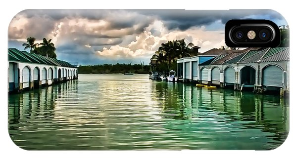 Storm Clouds Over  Port Royal Boathouses In Naples IPhone Case