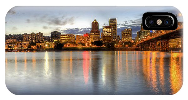 Portland Downtown Skyline Night Panorama 2 IPhone Case