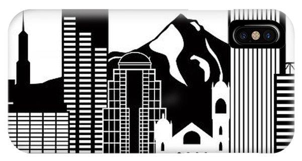 Portland Oregon Skyline Black And White Illustration IPhone Case