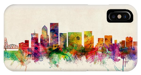 Watercolour iPhone Case - Portland Oregon Skyline by Michael Tompsett