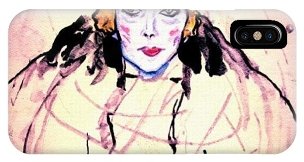 Watercolor iPhone Case - Portrait Of A Lady En Face After Gustav Klimt by Anna Porter