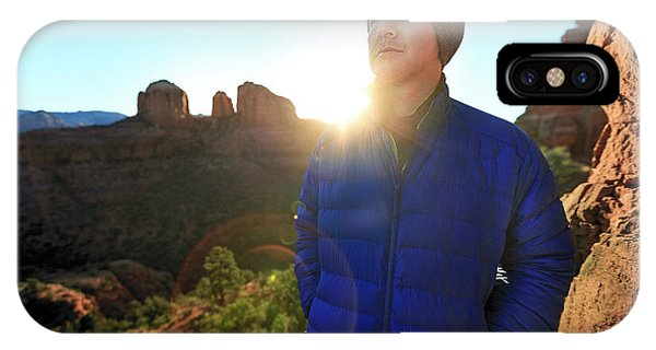Knit Hat iPhone Case - Portrait Of A Male Hiker In Sedona by Kyle Ledeboer