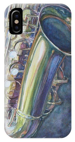 Saxophone iPhone X Case - Portrait Of A Sax by Jenny Armitage