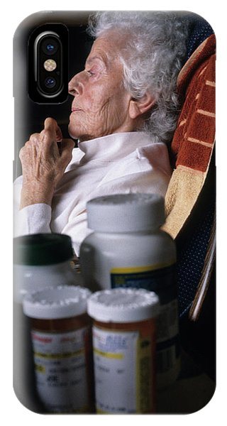 Assisted Living iPhone Case - Portrait Of A Seated Elderly Woman by Ron Koeberer