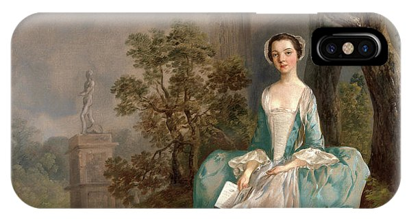 Portrait Of A Woman Girl With A Book Seated In A Park IPhone Case