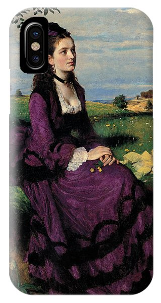 Dark Violet iPhone Case - Portrait Of A Woman In Lilac by Pal Szinyei Merse