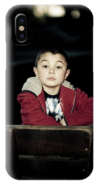 Barbara Steele iPhone Case - Portrait Of A Young Boy With Dark by Kevin Steele