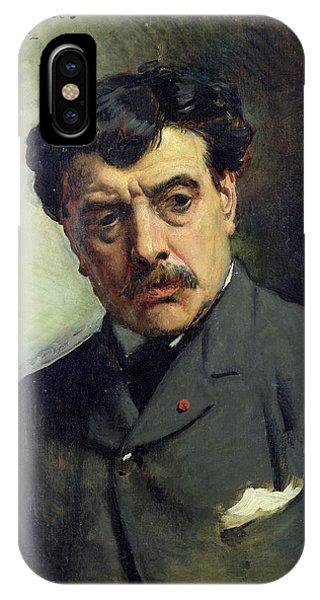 Moustache iPhone Case - Portrait Of Alexander Falguiere 1831-1900 1887 Oil On Canvas by Leon Joseph Florentin Bonnat