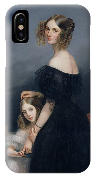 Portrait Of Anne-louise Alix De Montmorency, With Her Daughter, C.1840 Oil On Canvas IPhone Case