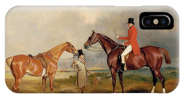 Horseman iPhone Case - Portrait Of John Drummond On A Hunter With A Groom Holding His Second Horse by John E Ferneley