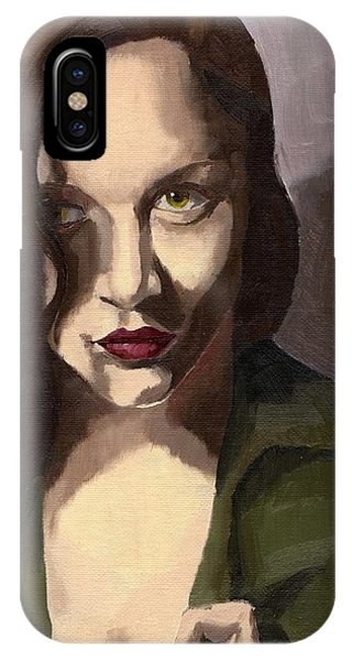IPhone Case featuring the painting Portrait Of Katelind by Stephen Panoushek