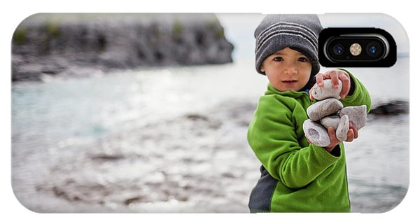 Knit Hat iPhone Case - Portrait Of Little Boy Standing At Lake by Steve Glass