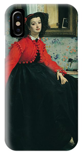Scarlet iPhone Case - Young Lady In A Red Jacket by James Jacques Joseph Tissot