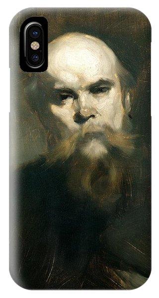 Moustache iPhone Case - Portrait Of Paul Verlaine 1844-96 1890 Oil On Canvas by Eugene Carriere