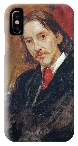 Moustache iPhone Case - Portrait Of Robert Louis Stevenson 1850-1894 1886 Oil On Canvas by Sir William Blake Richmond