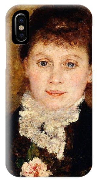 Deep Thought iPhone Case - Portrait Of Woman by Pierre-Auguste Renoir