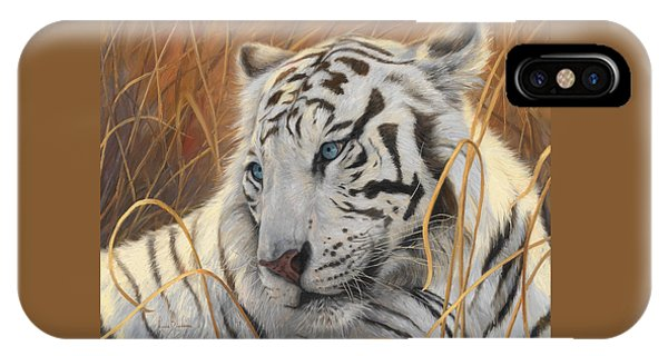 Tiger iPhone Case - Portrait White Tiger 1 by Lucie Bilodeau