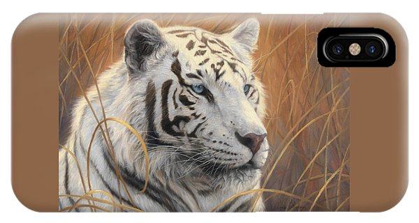 Tiger iPhone Case - Portrait White Tiger 2 by Lucie Bilodeau