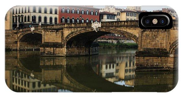 Postcard From Florence - Arno River And Ponte Santa Trinita  IPhone Case