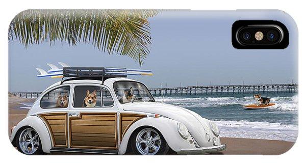 Volkswagen iPhone Case - Postcards From Otis - Beach Corgis by Mike McGlothlen