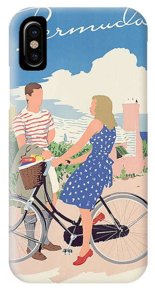 Bike iPhone Case - Poster Advertising Bermuda by Adolph Treidler