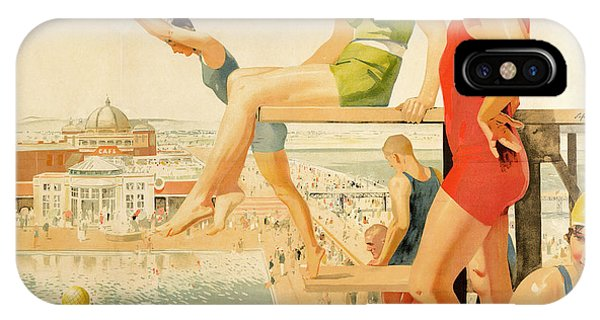 Old Fashioned iPhone Case - Poster Advertising Sunny Rhyl  by Septimus Edwin Scott