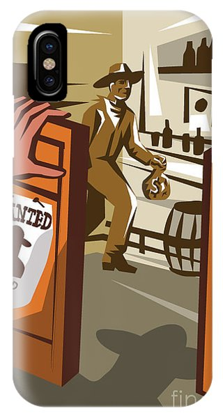 Work iPhone Case - Poster Illustration Of An Outlaw Cowboy by Patrimonio Designs Ltd