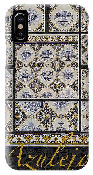 Poster With Beige-blue Portuguese Tile-works IPhone Case