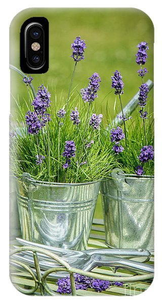 Garden iPhone X Case - Pots Of Lavender by Amanda Elwell