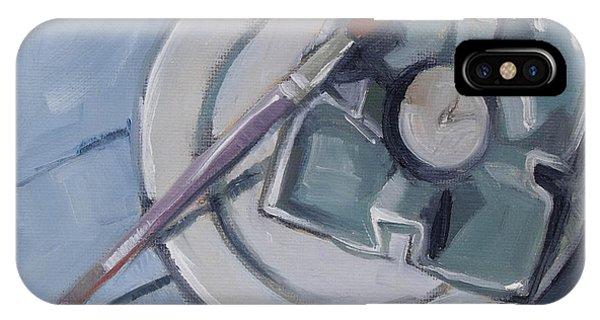 Pottery And Paintbrush Still Life Painting IPhone Case